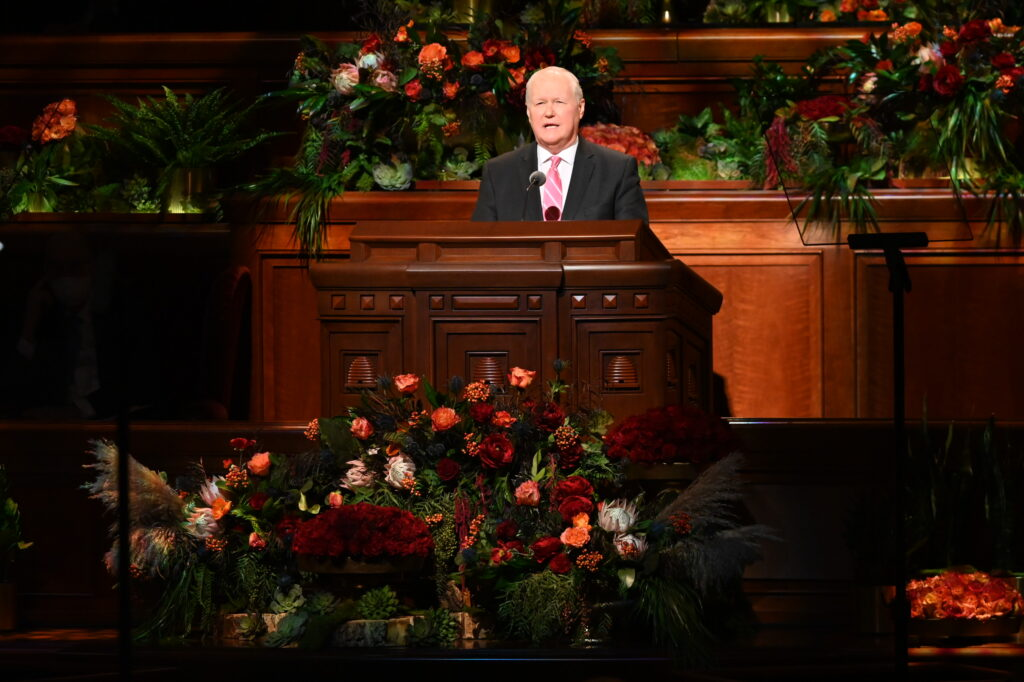 Elder Anthony D. Perkins, a General Authority Seventy, speaks Sunday afternoon, Oct. 3, 2021, during the 191 Semiannual General Conference of The Church of Jesus Christ of Latter-day Saints in Salt Lake City.