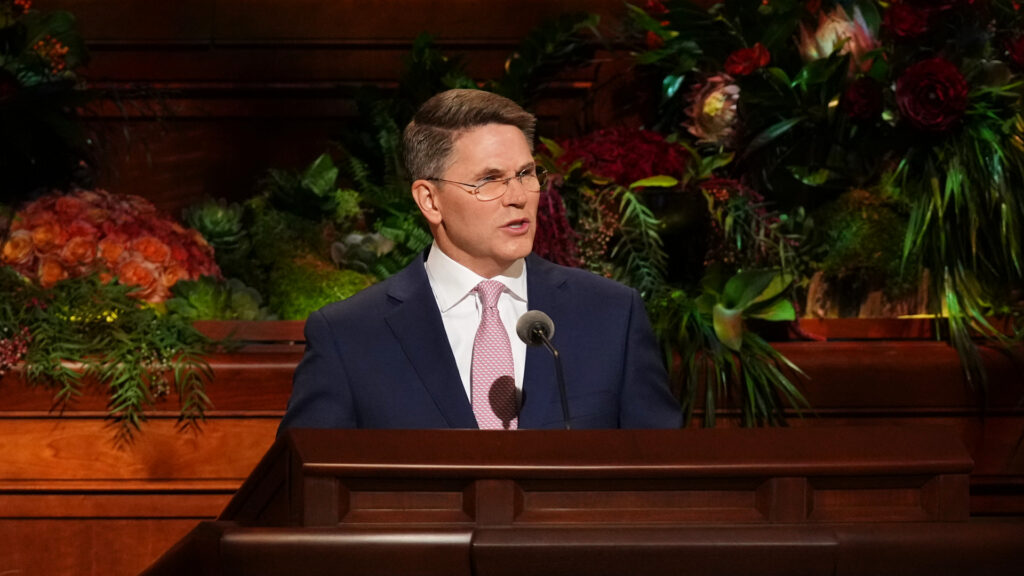 Elder Sean Douglas, a General Authority Seventy, delivers an address Sunday afternoon, Oct. 3, during the Church's 191st Semiannual General Conference, which was held in the Conference Center in Salt Lake City.