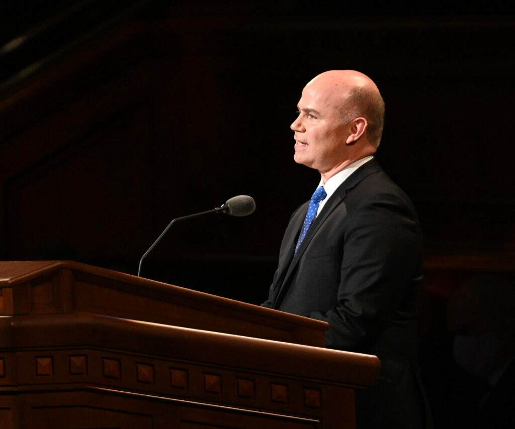 Elder Alvin F. Meredith III, a General Authority Seventy, speaks during the Church's 191st Semiannual General Conference on Sunday afternoon, Oct. 3, in the Conference Center in Salt Lake City.