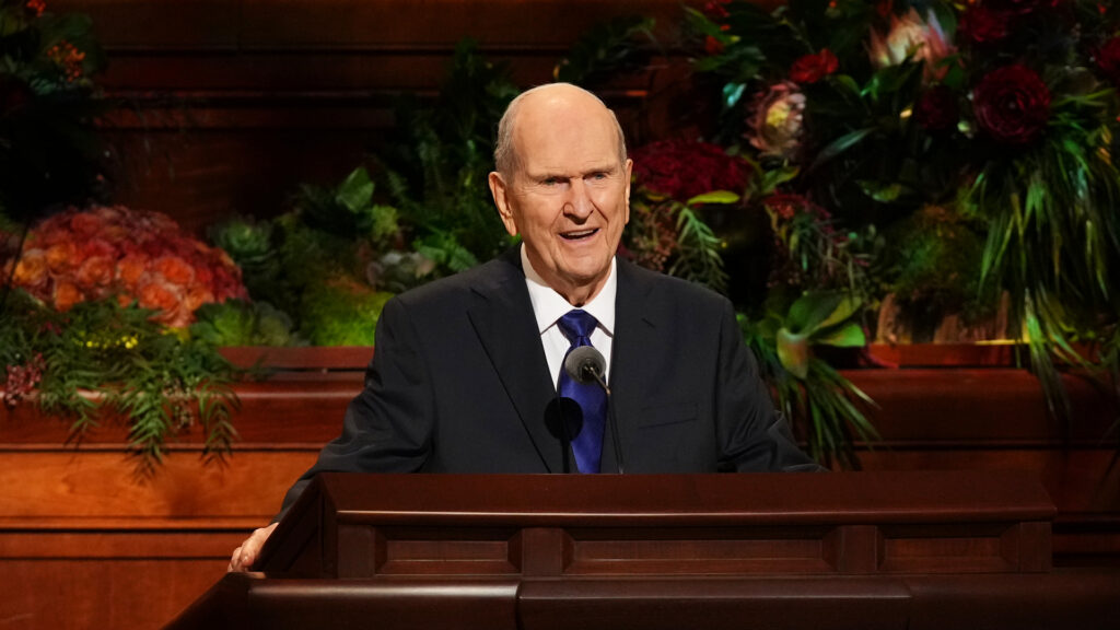 President Russell M. Nelson, President of the Church, delivers the closing address of the 191st Semiannual General Conference on Sunday afternoon, Oct. 3, in the Conference Center in Salt Lake City.