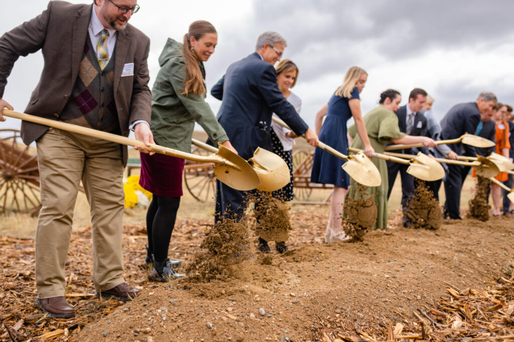 Church leaders and other Latter-day Saints participate in the groundbreaking of the Casper Wyoming Temple on Oct. 9, 2021.