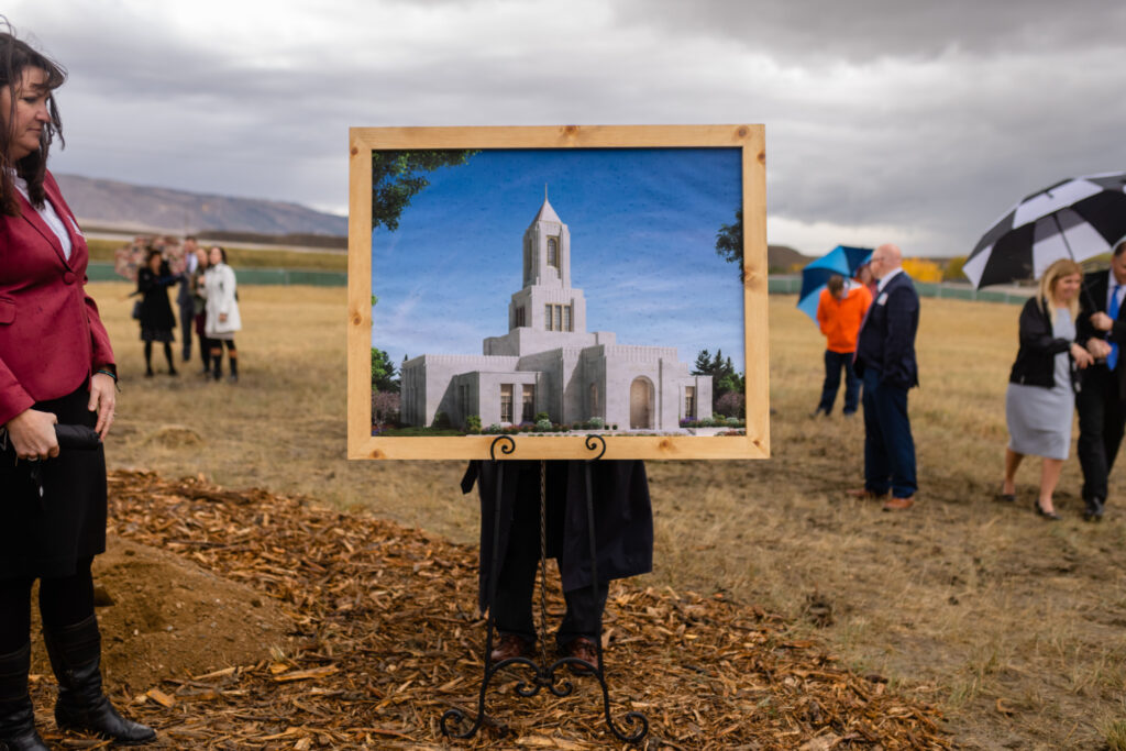 A digital rendering of the Casper Wyoming Temple is displayed at the groundbreaking ceremony on Saturday, Oct. 9, 2021.