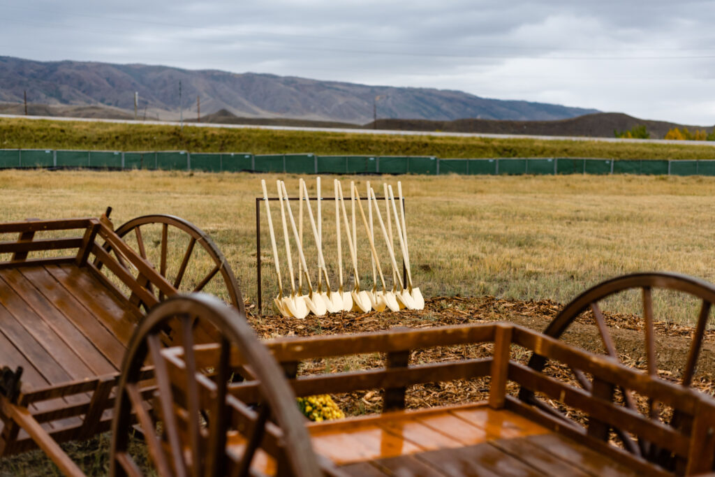 Near handcarts are shovels used at the groundbreaking for the Casper Wyoming Temple on Oct. 9, 2021. Early converts of The Church of Jesus Christ of Latter-day Saints migrated to the western United States, some using handcarts to transport their personal belongings.