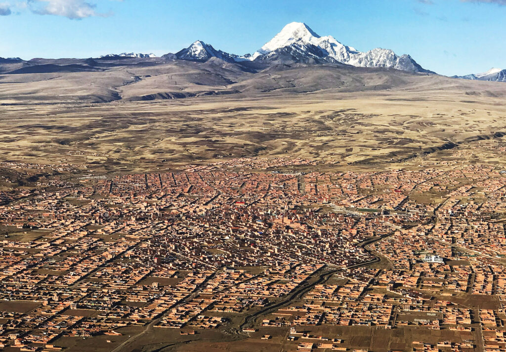 An aerial photo of La Paz, Bolivia on Oct. 21, 2018. President Russell M. Nelson of The Church of Jesus Christ of Latter-day Saints spoke in La Paz.