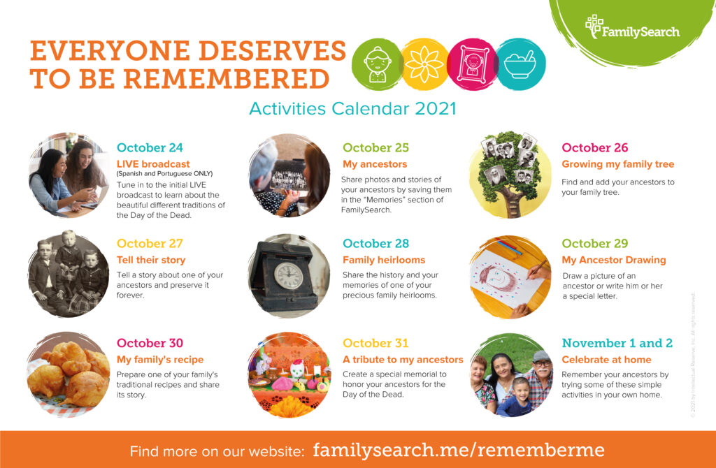A calendar of daily activities leading up to Day of the Dead 2021.