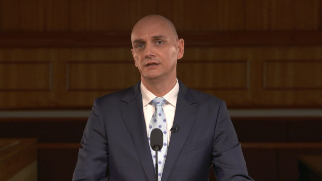 Elder Ciro Schmeil, a General Authority Seventy, speaks during the Saturday afternoon session of the 191st Semiannual General Conference of The Church of Jesus Christ of Latter-day Saints, broadcast from the Conference Center in Salt Lake City on Oct. 2, 2021.