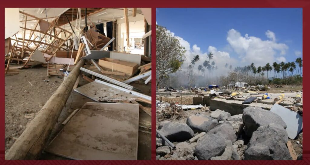 During a BYU–Hawaii devotional on Oct. 5, 2021, Elder K. Brett Nattress, a General Authority Seventy, shares photos of the damaged caused by the 2009 tsunami in Samoa.