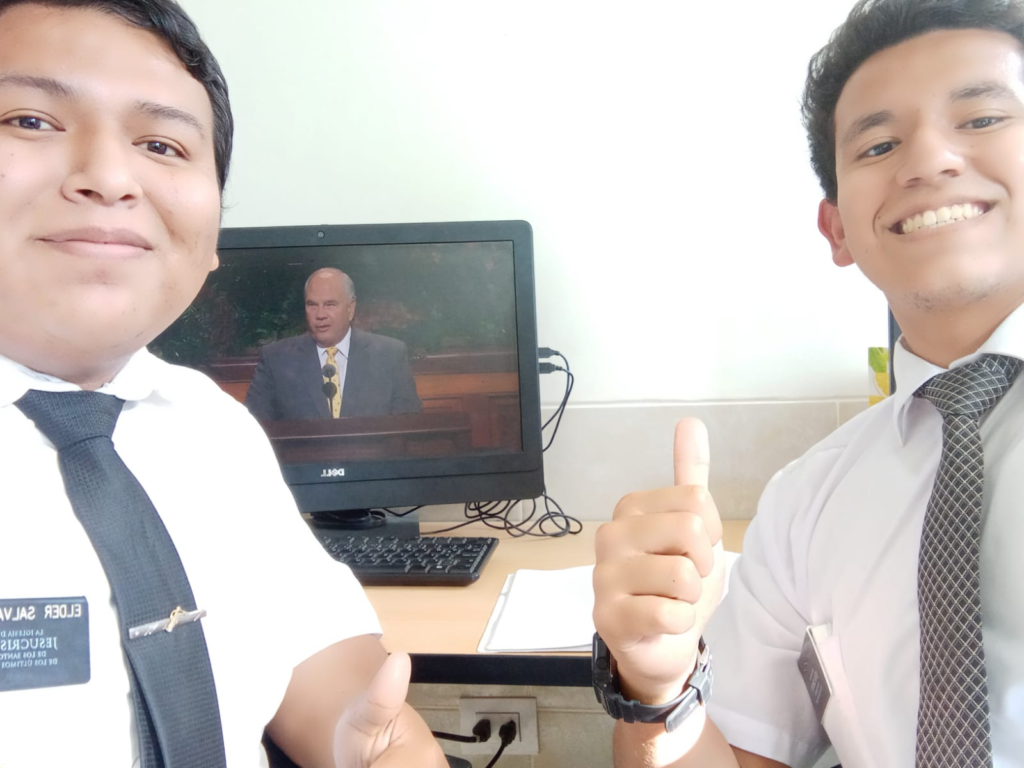 Elder Salvatierra and Elder Garcia of the Peru Piura Mission watch the Saturday afternoon session of the 191st Semiannual General Conference of The Church of Jesus Christ of Latter-day Saints, broadcast on Saturday, Oct. 2, 2021.