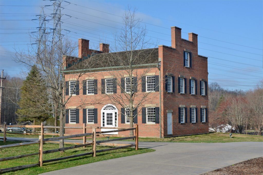 The rebuilt Johnson Inn in historic Kirtland, Ohio, is shown in 2021. The first floor is a visitors' center.