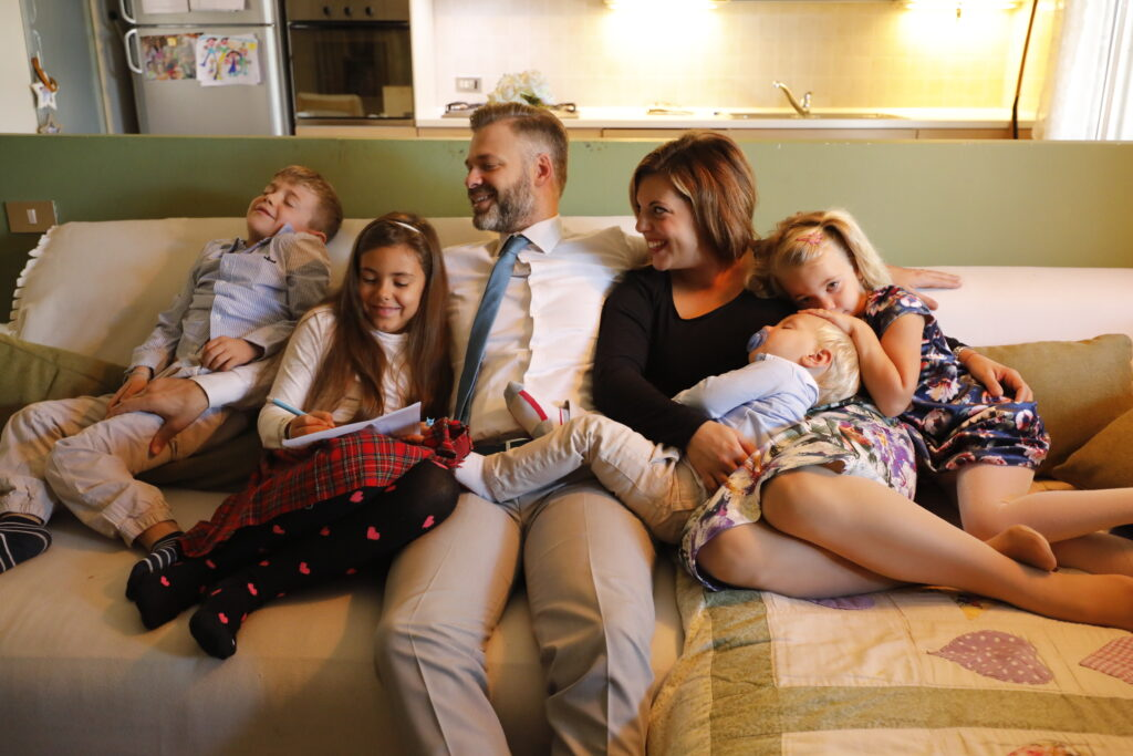 A family in Italy listens to the 190th Semiannual General Conference of The Church of Jesus Christ of Latter-day Saintsheld Saturday and Sunday, Oct. 3 and 4, 2020.