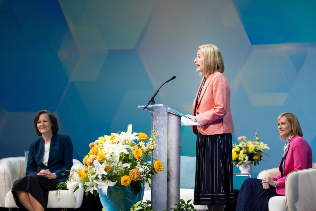 """Primary General President Camille N. Johnson speaks on """"practicing perfection"""" during her remarks at BYU Women's Conference on April 29, 2021. The conference was livestreamed from the Marriott Center in Provo, Utah."""