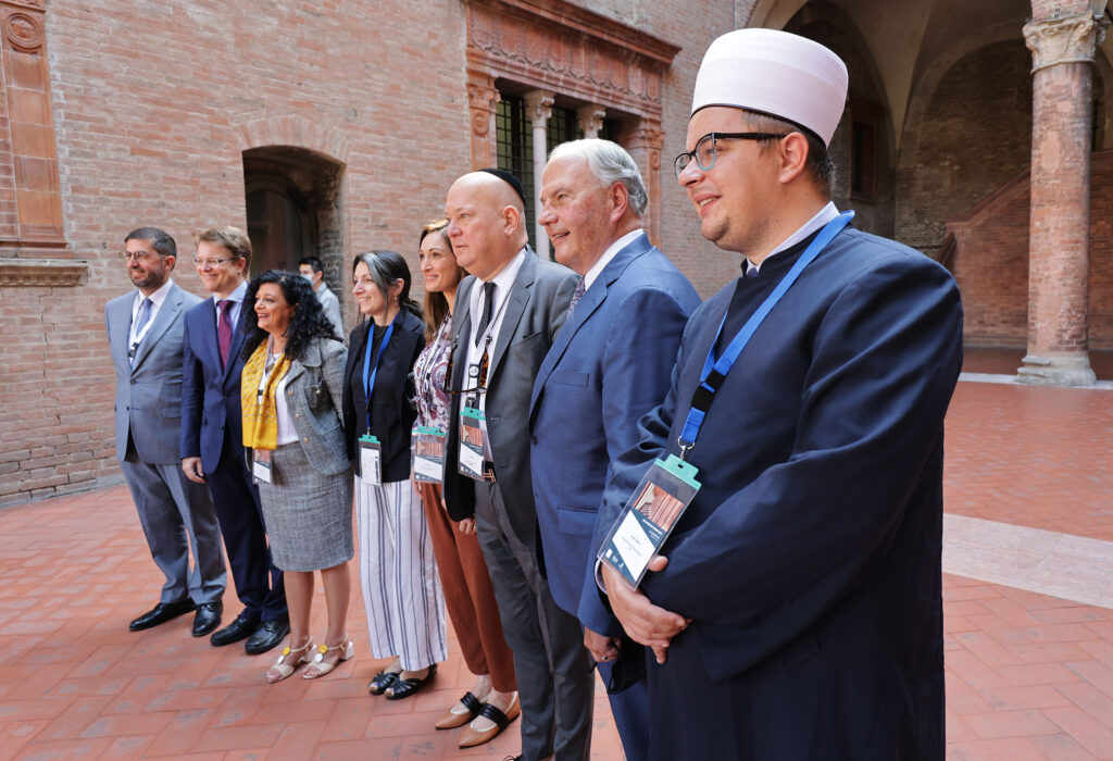 Elder Ronald A. Rasband, of The Church of Jesus Christ of Latter-day Saints' Quorum of the Twelve Apostles, second from right, poses for a photo with other religious leaders during the G20 Interfaith Forum in Bologna, Italy on Monday, Sept. 13, 2021.