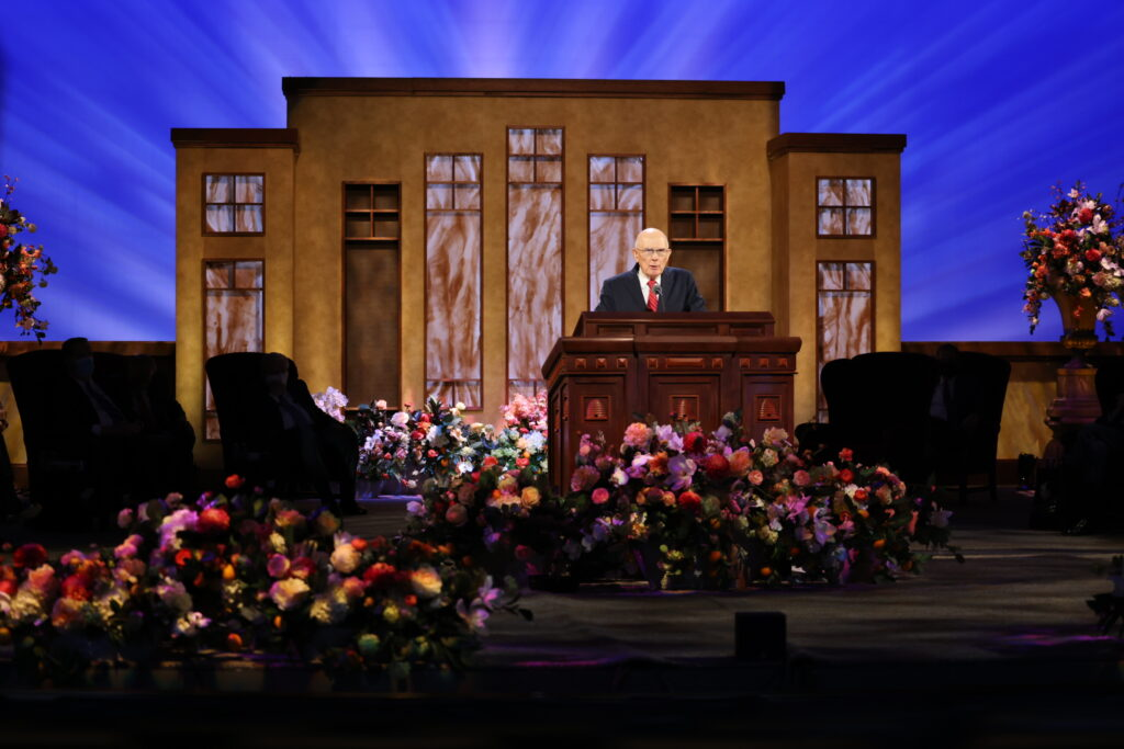 President Dallin H. Oaks, first counselor in the First Presidency, speaks during the Sunday afternoon session of The Church of Jesus Christ of Latter-day Saints' 191st Annual General Conference in Salt Lake City on Sunday, April 4, 2021.