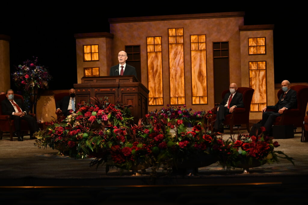 President Henry B. Eyring, second counselor in the First Presidency, conducts the Saturday morning session of the 190th Semiannual General Conference of The Church of Jesus Christ of Latter-day Saints on Oct. 3, 2020.