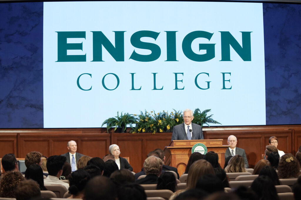 Elder D. Todd Christofferson, of The Church of Jesus Christ of Latter-day Saints' Quorum of the Twelve Apostles, speaks in the Church Office Building auditorium in Salt Lake City on Tuesday, June 15, 2021, during the first in-person devotional for Ensign College since the pandemic began.
