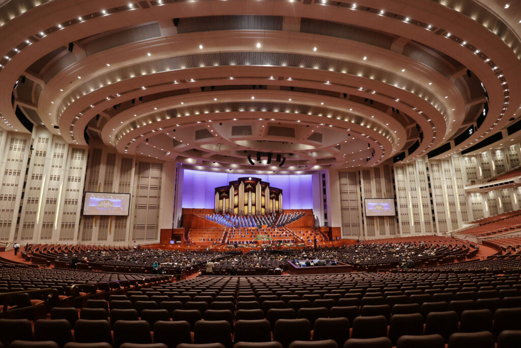 A small group of conferencegoers are seated in the Conference Center during the 191st General Conference of The Church of Jesus Christ of Latter-day Saints in Salt Lake City on Saturday, Oct. 2, 2021.