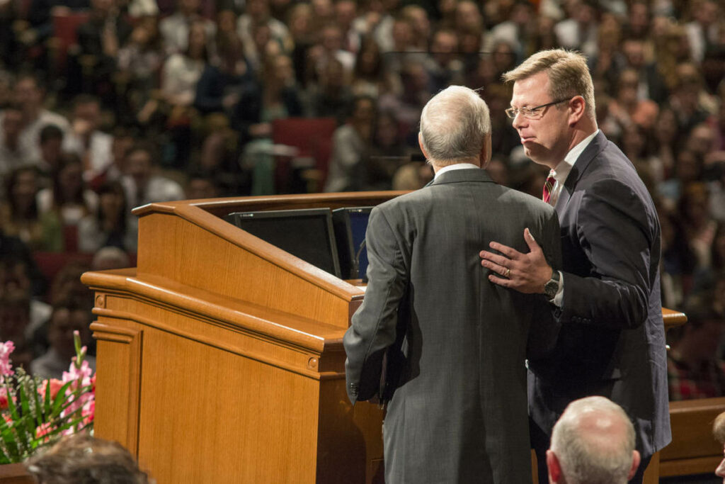 Elder Russell M. Nelson, then of the Quorum of the Twelve Apostles, introduces Brigham Young University-Idaho's newest president, Clark G. Gilbert, on Jan. 27, 2015.