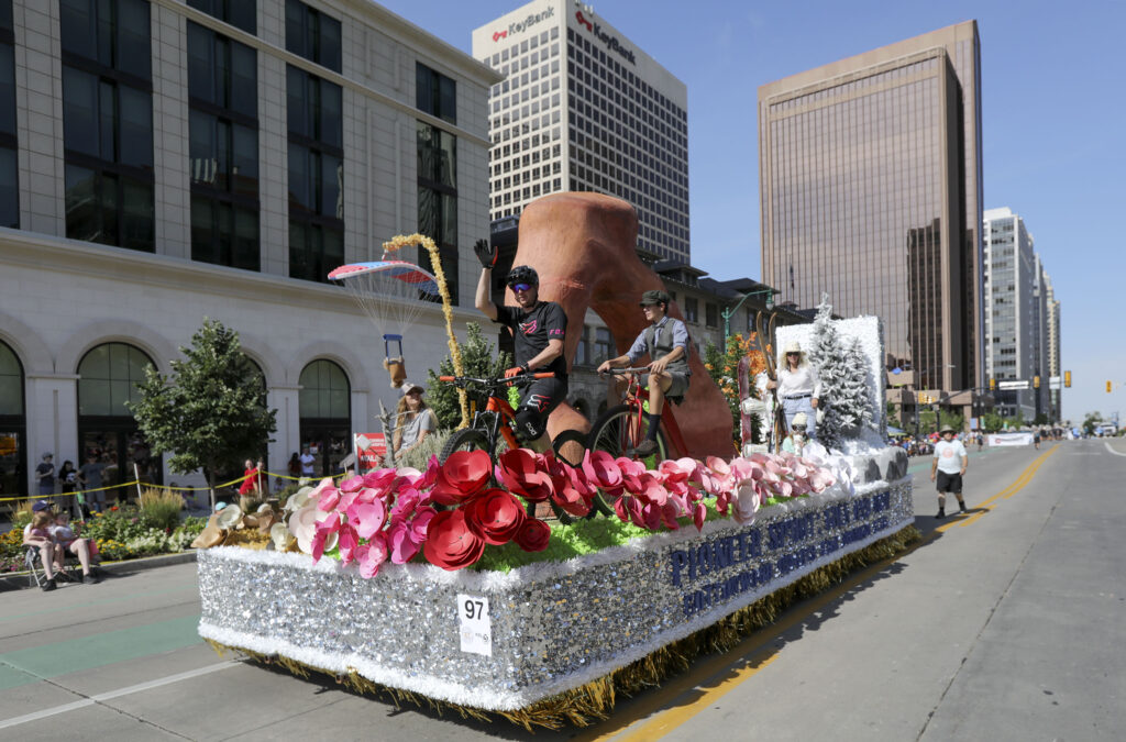 The Cottonwood Heights Utah Brighton Stake float makes its way along the Days of '47 Parade route in Salt Lake City on Friday, July 23, 2021. The float won the Utah Award for the best illustration of the state's uniqueness, special qualities and diversity.