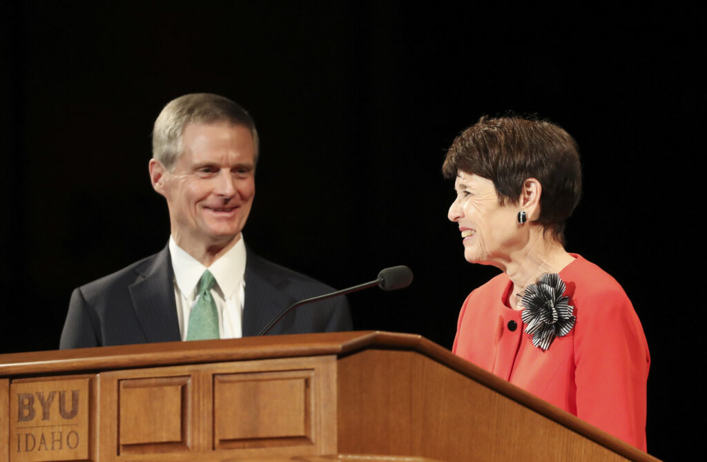 Elder David A. Bednar, Quorum of the Twelve Apostles of The Church of Jesus Christ of Latter-day Saints, and his wife Sister Susan Bednar speak during a fireside at BYU Idaho in Rexburg on Sept. 22, 2019.