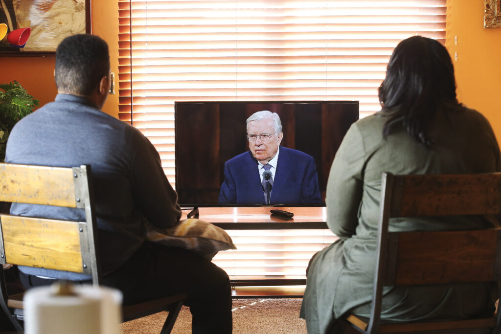 Edvid Gassant and his sister Evelyn Gassant watch the 190th Semiannual General Conference of The Church of Jesus Christ of Latter-day Saints from their home in West Valley City on Sunday, Oct. 4, 2020.