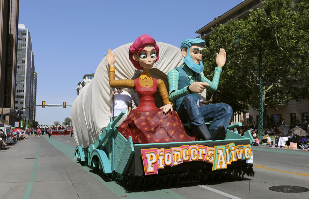 The Midvale Utah Stake float makes its way along the Days of '47 Parade route in Salt Lake City on Friday, July 23, 2021. The float won the Hilda Erickson Award for showing the pioneer legacy of determination and adaptability along a new frontier.