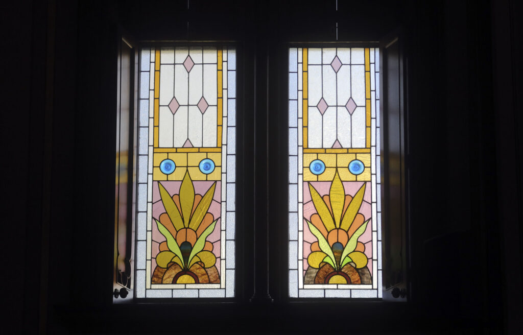 Stained glass windows are pictured in Assembly Hall in Salt Lake City on Wednesday, April 28, 2021.