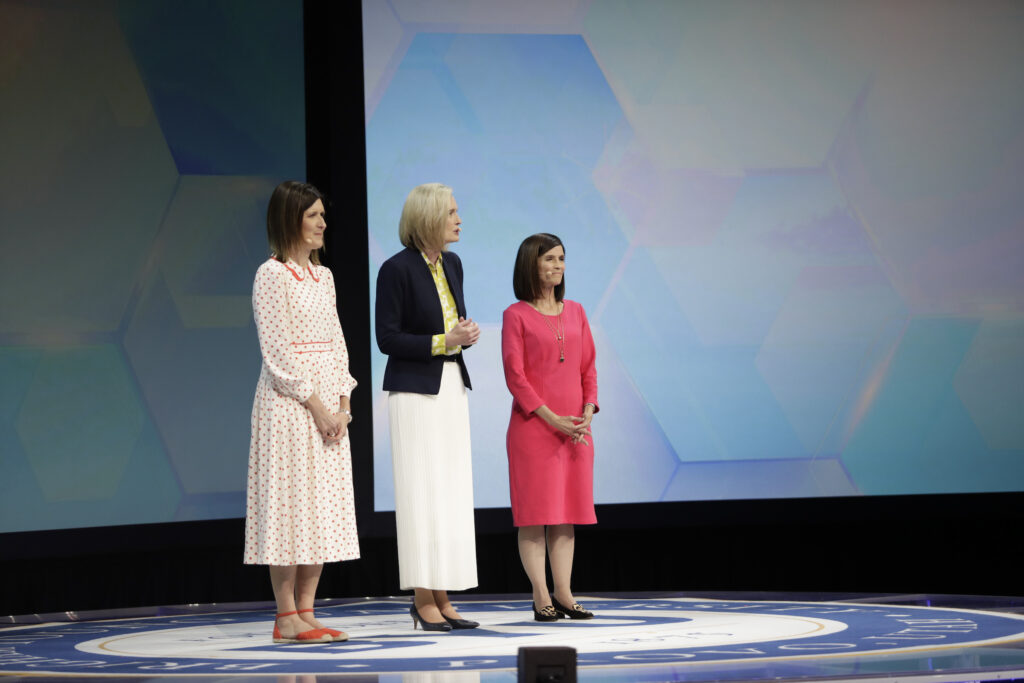 The Young Women general presidency — from left to right, Sister Michelle D. Craig, President Bonnie H. Cordon, and Sister Rebecca L. Craven — participate in the 2021 BYU Women's Conference on April 29, 2021, at the BYU Marriott Center in Provo, Utah