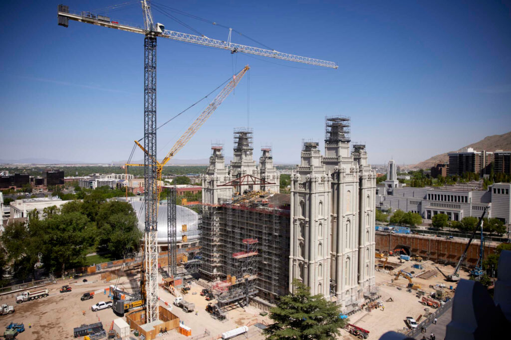 Further excavation is planned on the Salt Lake Temple, which weighs more than 185 million pounds or 84,000 metric tons, Salt Lake City, June 2021.