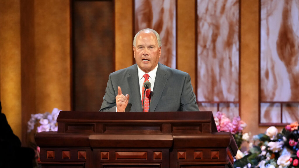 Elder Ronald A. Rasband of the Quorum of the Twelve Apostles speaks during the Sunday afternoon session of the 191st Annual General Conference of The Church of Jesus Christ of Latter-day Saints on April 4, 2021.