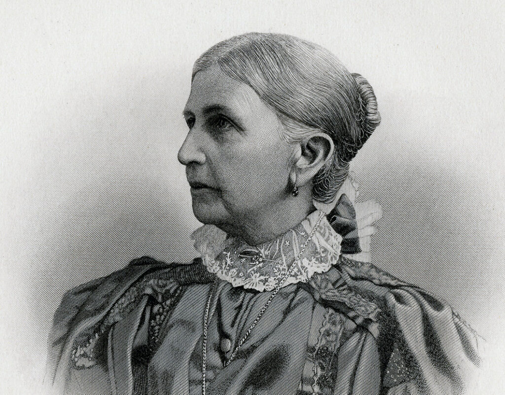 "This engraved portrait of Emmeline B. Wells appeared in Orson F. Whitney's ""History of Utah."" Engraving by E. G. Williams and Bro., New York."