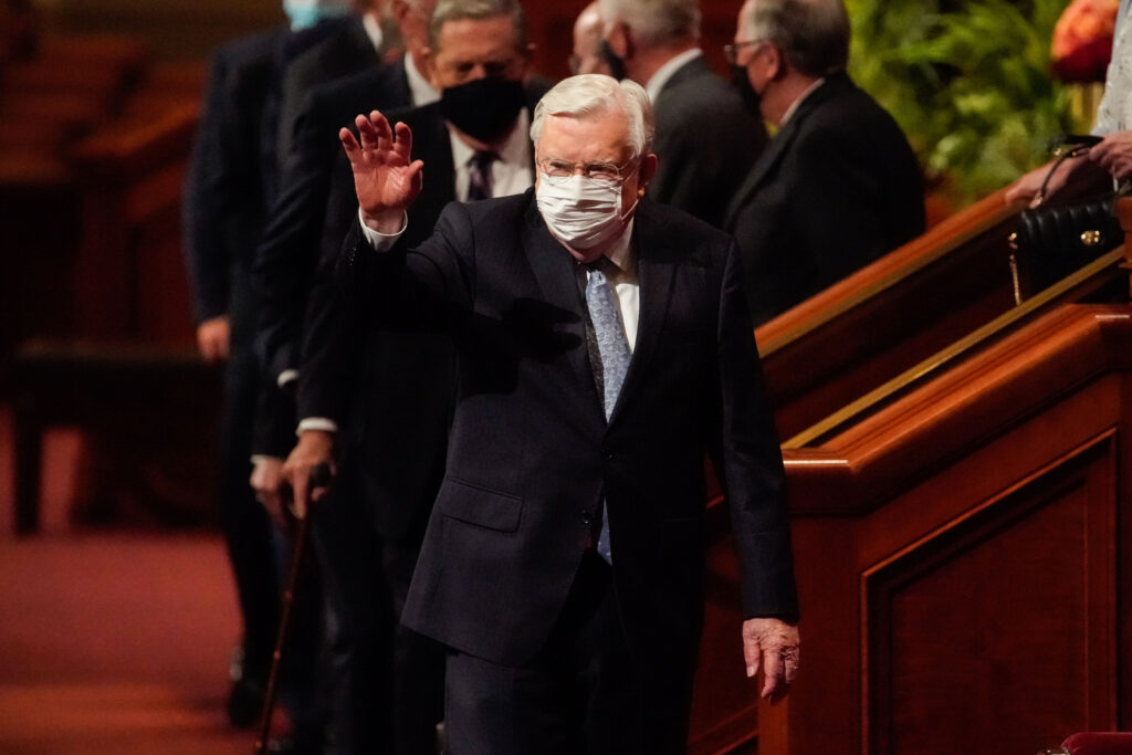 President Russell M. Ballard, Acting President of the Quorum of the Twelve Apostles of The Church of Jesus Christ of Latter-day Saints, waves towards the congregation as he leaves after the Saturday evening session of the 191st Semiannual General Conference of The Church of Jesus Christ of Latter-day Saints at the Conference Center in Salt Lake City on Saturday, Oct. 2, 2021.