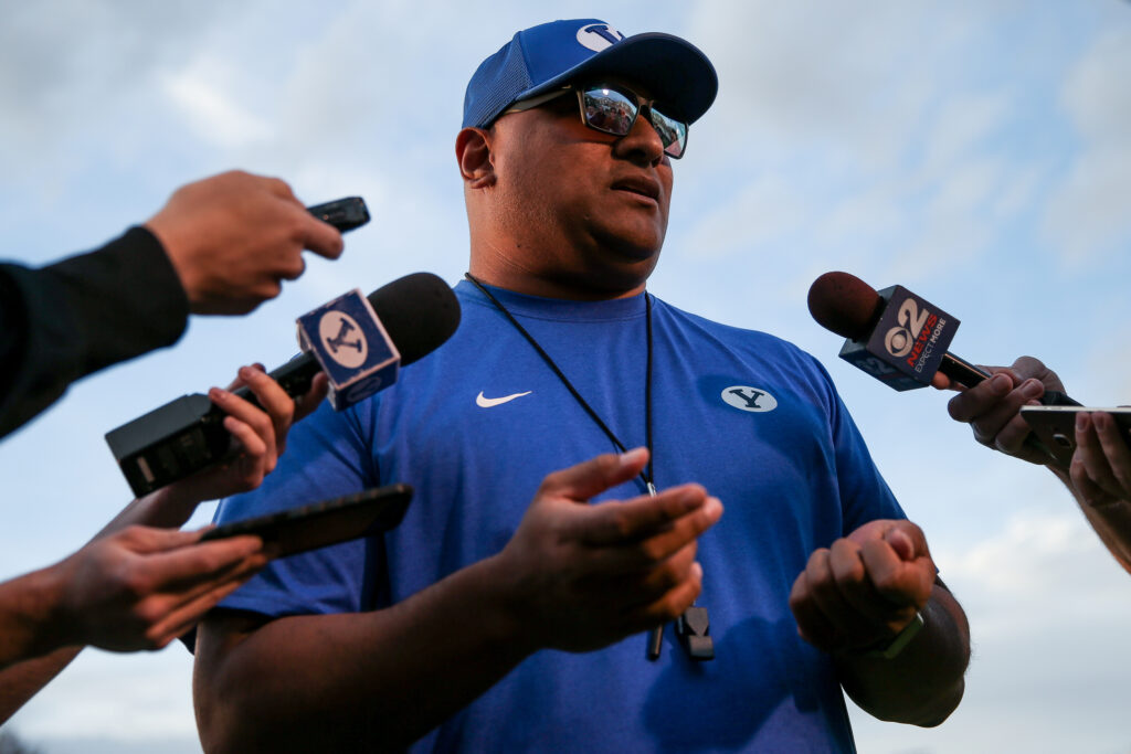 Head coach Kalani Sitake talks to reporters after Brigham Young University football practice in Provo on Friday, March 6, 2020.