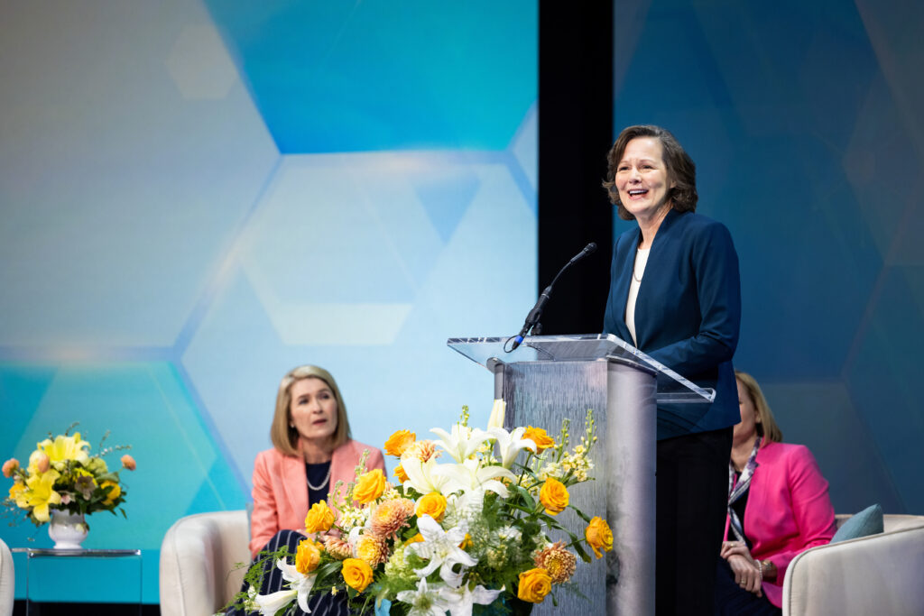 Sister Susan H. Porter, first counselor in the Primary general presidency, speaks on finding peace and comfort in the Savior during her remarks at BYU Women's Conference on April 29, 2021. The conference was livestreamed from the Marriott Center in Provo, Utah.