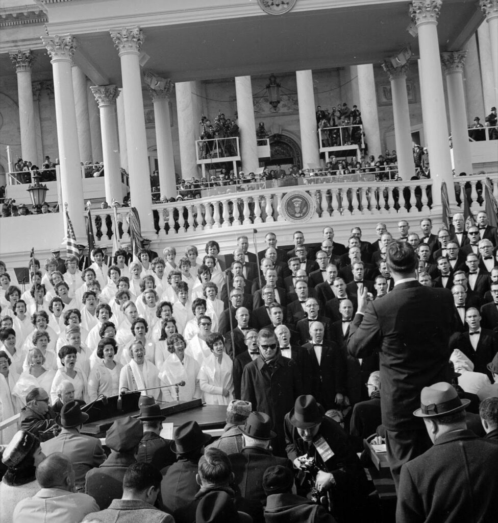 The Tabernacle Choir at Temple Square performs at the presidential inauguration of Lyndon B. Johnson on Jan. 20, 1965. It was the first of seven appearances by the choir at inauguration ceremonies for U.S. presidents.