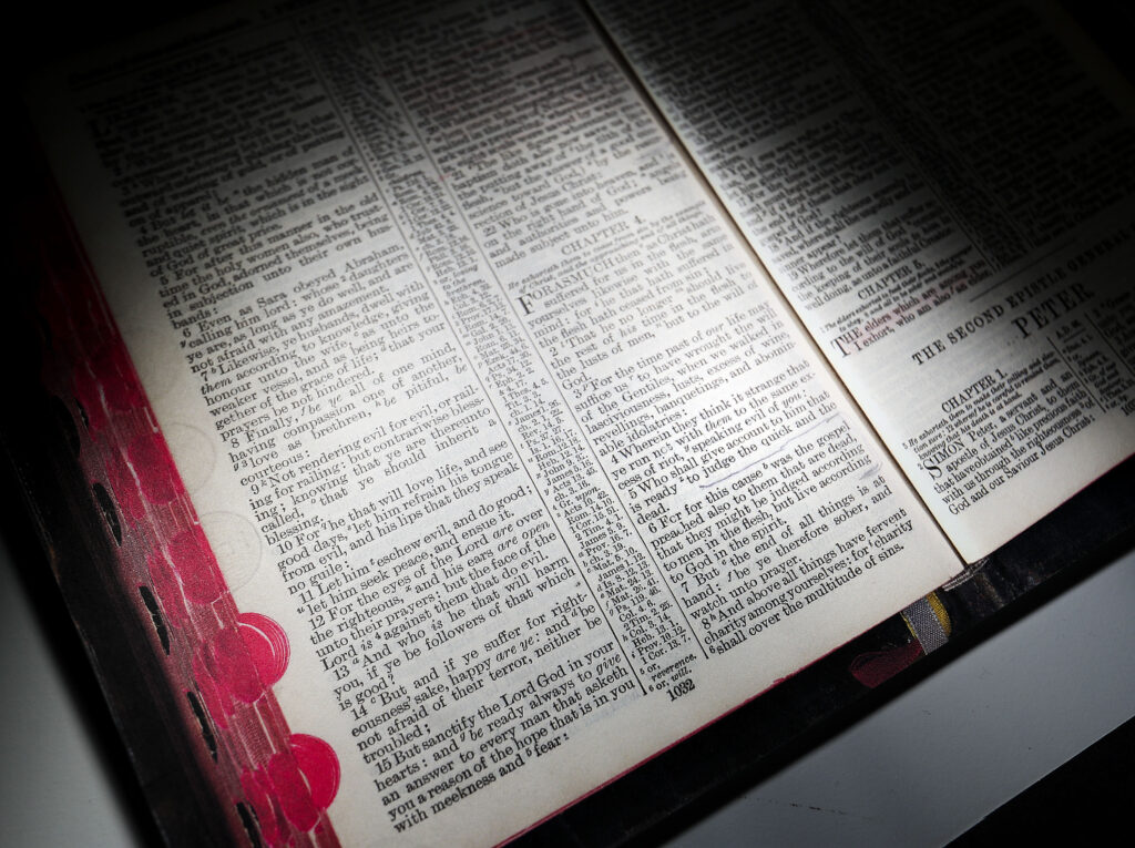 A copy of a page from Joseph F. Smith's bible is photographed at the Church History Library in Salt Lake City on Wednesday, Sept. 22, 2021.