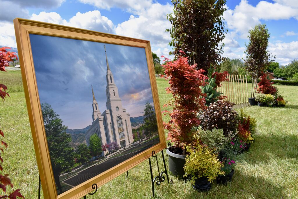 A framed rendering of the Layton Utah temple and ceremonial shoves are positioned at the temple site prior to the temple's groundbreaking ceremony, conducted Saturday, May 23, 2020, in Layton Utah.