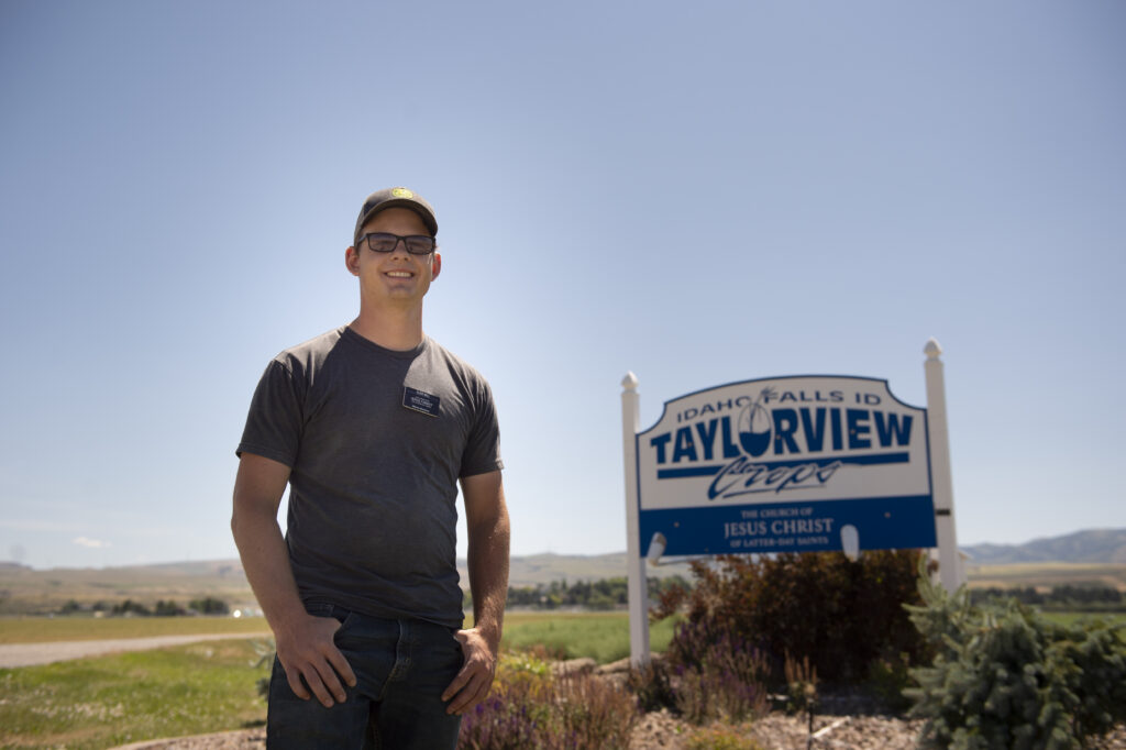 Elder Garrett Mill pauses for a portrait during his shift Saturday, July 18, 2020, at Taylorview Crops, also known as Idaho Falls Crops, a welfare farm of The Church of Jesus Christ of Latter-day Saints south of Idaho Falls, Idaho.