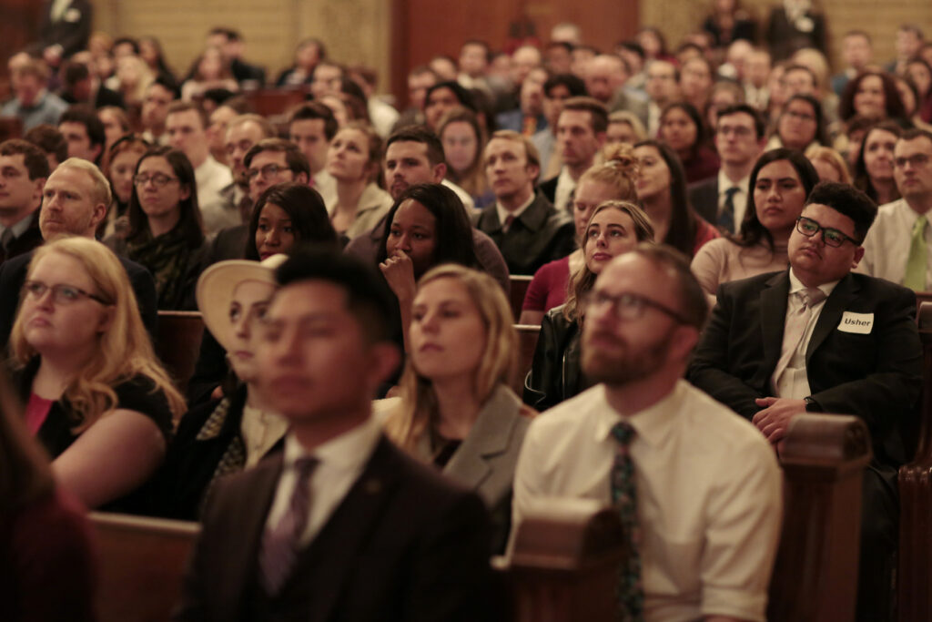 Elder Jeffrey R. Holland of the Quorum of the Twelve Apostles speaks during an event for young adults at the Stanford Memorial Church on the Stanford University campus in Stanford, in, California, Sunday, February 9, 2020.