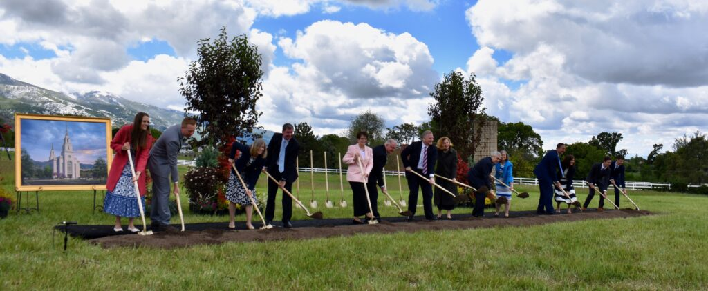 Members of the Utah Area presidency join committee members of the Layton temple groundbreaking committee and others in turning the first shovelfuls of dirt at the Layton Utah Temple groundbreaking ceremony, conducted Saturday, May 23, 2020, in Layton Utah.