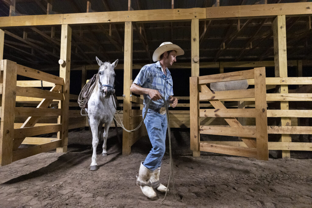 Ty Edwards leads his horse out of the stall as he and other ranch hands prepare to head out to gather the cattle prior to transport at Deseret Ranches in St. Cloud, Florida, on Tuesday, Aug. 24, 2021.
