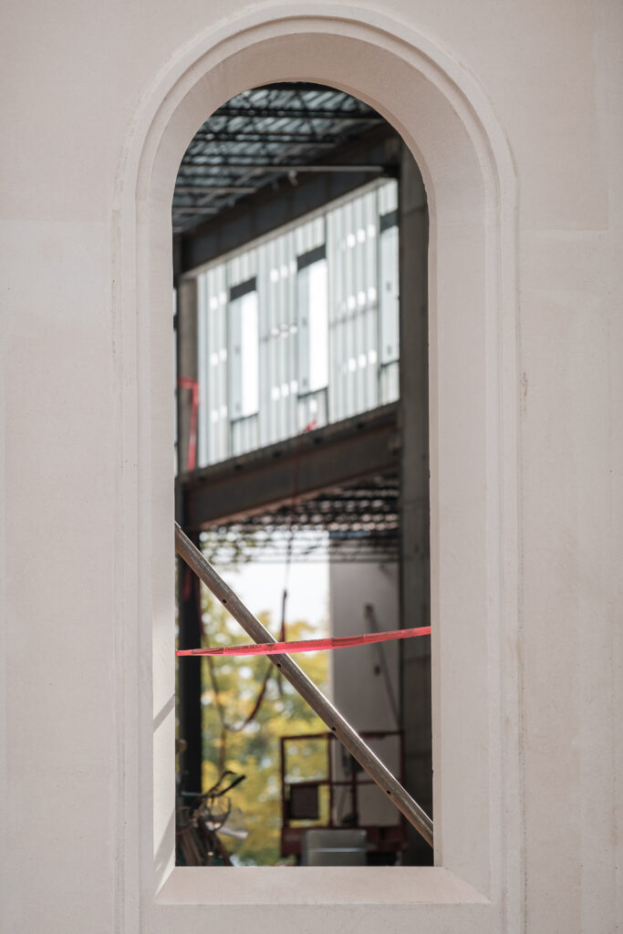 A view through a window shows the progress of construction on the north entrance to the St. George Utah Temple of The Church of Jesus Christ of Latter-day Saints on Friday, Nov. 6, 2020, in St. George. The historic temple is undergoing renovations that are expected to be completed in 2022.