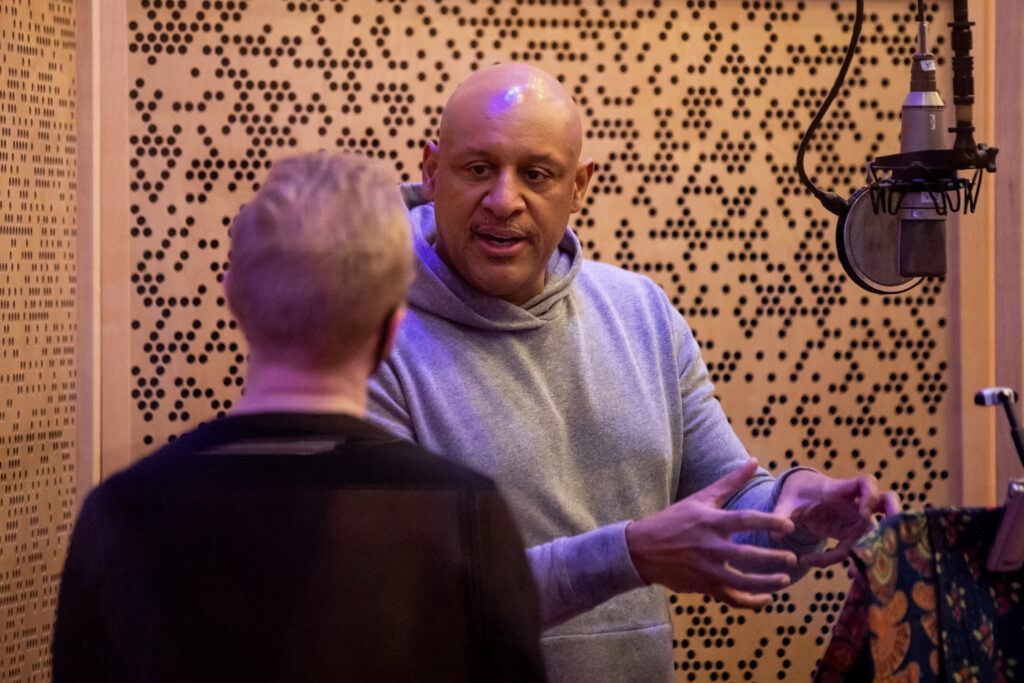 Brian Courtney Wilson, right, chats with McKay Crockett, artistic director and producer of BYU Vocal Point, at June Audio Recording Studios in Provo on Saturday, Feb. 20, 2021.