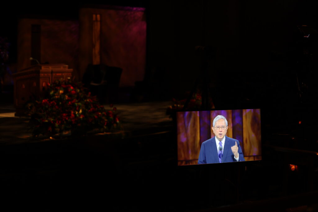 A recording of Elder Gerrit W. Gong of the Quorum of the Twelve Apostles giving his Saturday afternoon session address is shown in the Conference Center Theater during the 190th Semiannual General Conference of The Church of Jesus Christ of Latter-day Saints on Oct. 3, 2020.