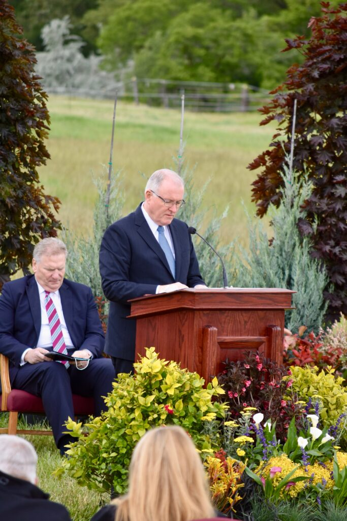 Elder Randy D. Funk, a General Authority Seventy and first counselor in the Utah Area presidency, offers the dedicatory prayer during the Layton Utah Temple groundbreaking ceremony, conducted Saturday, May 23, 2020, in Layton Utah.