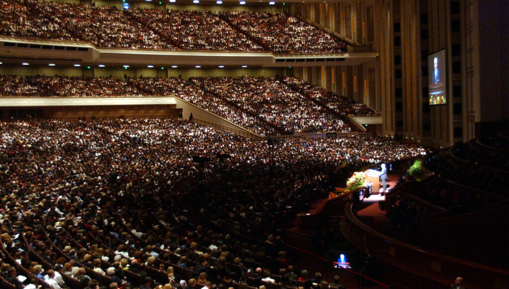 President Gordon B. Hinckley speaks during the Sunday morning session of the 171st General Conference Sunday, October 7, 2001. Photo by Jason Olson