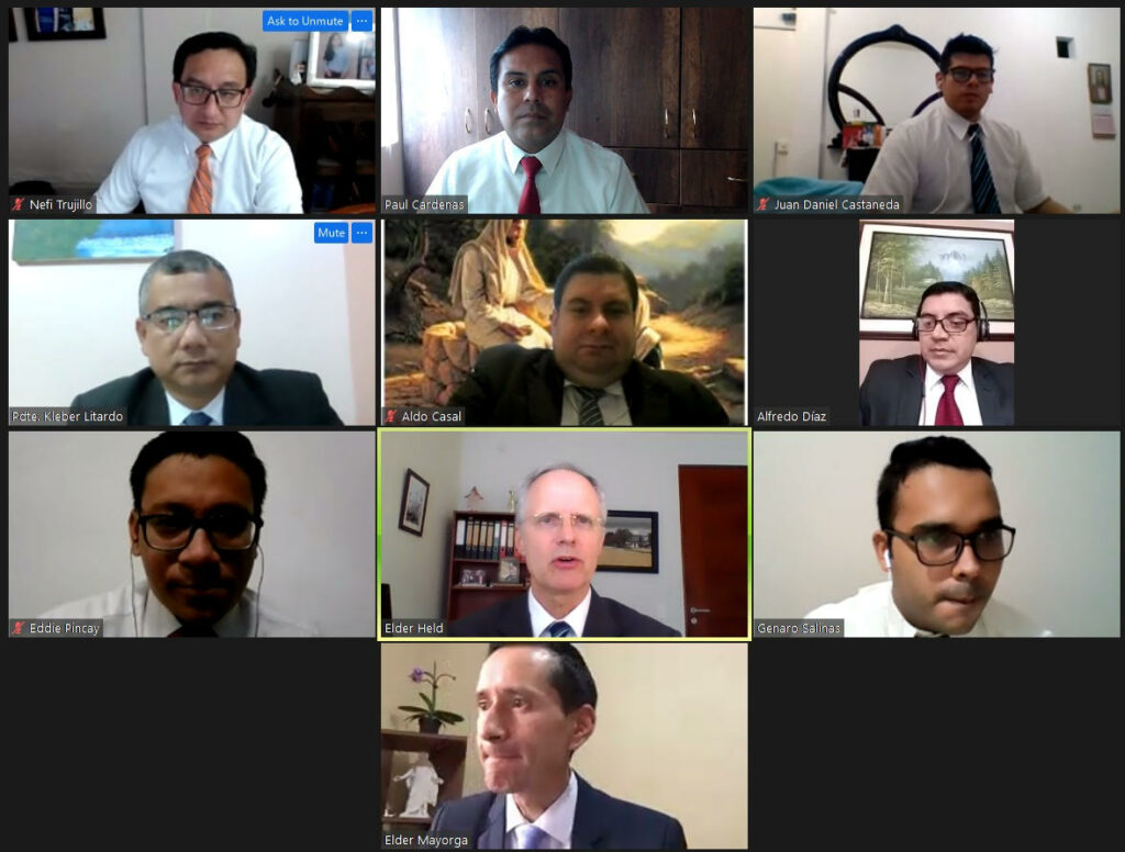 Elder Mathias Held, first counselor in the South America Northwest Area presidency, shown in the middle of the third row, participates with leaders via Zoom in a stake presidency organization during the 2020-2021 COVID-19 pandemic.