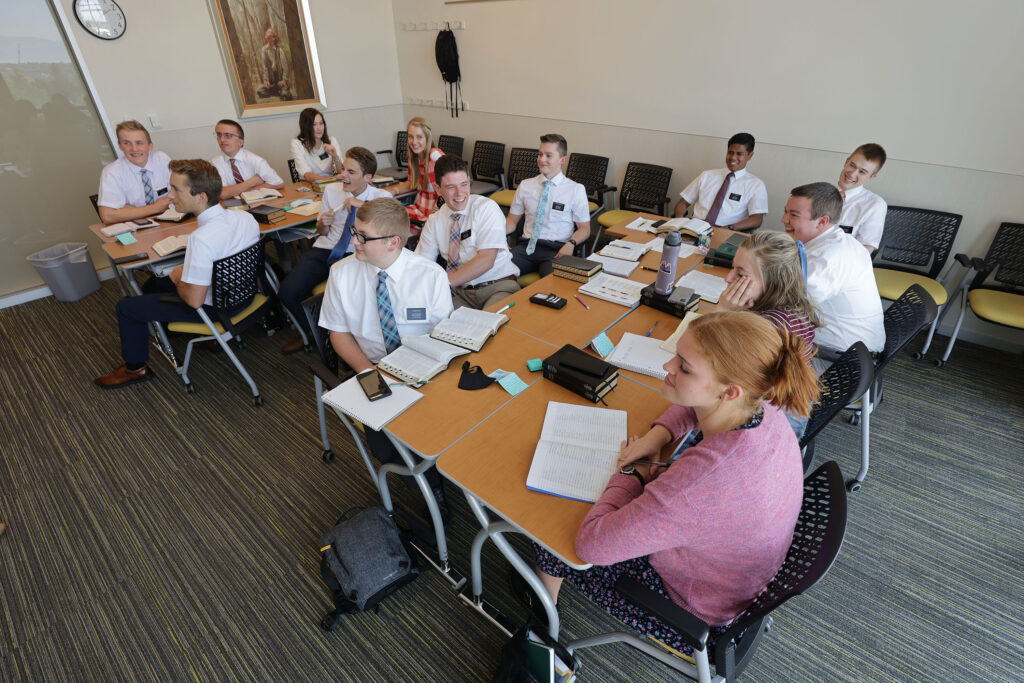 Missionaries study Spanish at the Missionary Training Center in Provo on Wednesday Aug 25, 2021.