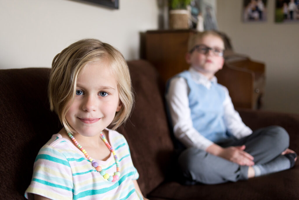 Evelyn and Braden Tuft, of the Midland 2nd Ward, Midland Michigan Stake, watch the Sunday morning session of The Church of Jesus Christ of Latter-day Saints' 191st Annual General Conference on April 4, 2021.