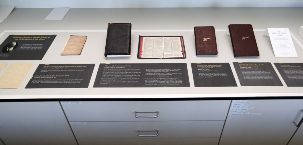 Documents related to the revelation in Doctrine and Covenants section 138 are photographed at the Church History Library in Salt Lake City on Wednesday, Sept. 22, 2021.
