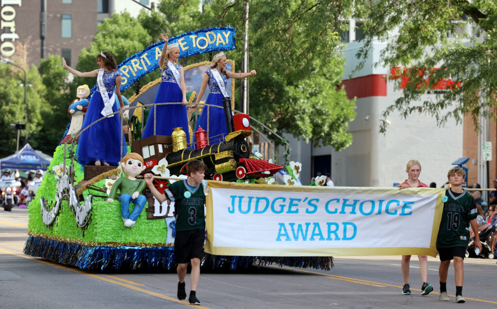 The Days of '47 royalty float makes its way along the parade route in Salt Lake City on Friday, July 23, 2021. The float won the Judges Choice Award.